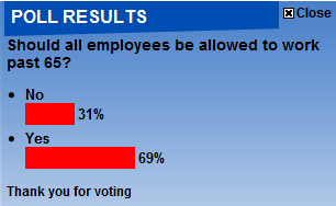 Daily mail poll results 8-8-2010 regarding scrapping the retirement age in the UK from 2011