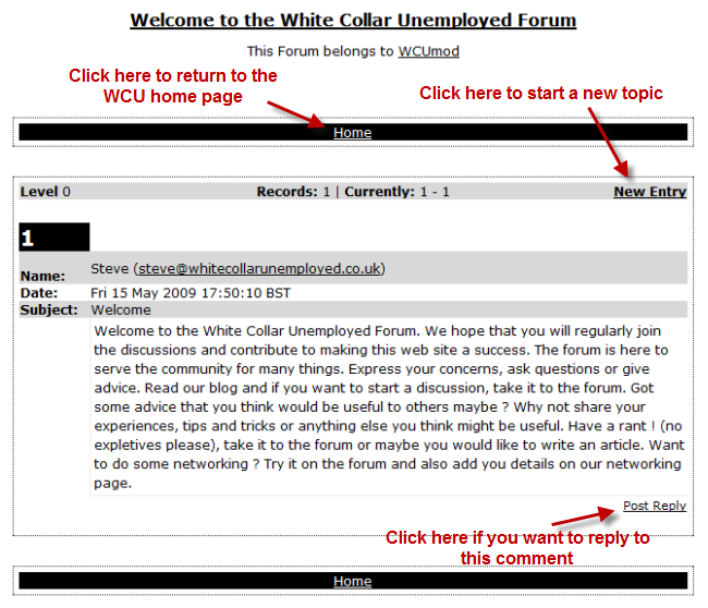 White Collar Unemployed forum page picture and instructions